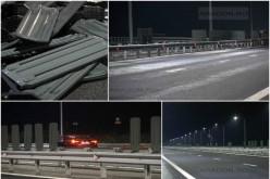 500 de balize antiorbire, smulse de vijelii, de pe parapetul median al Autostrăzii Nădlac – Arad