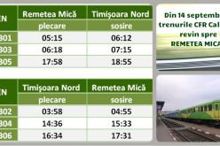 CFR Călători reia transportul de călători pe rutele Remetea Mică – Timişoara Nord și Sighișoara – Odorhei