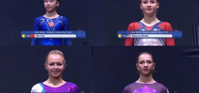 FABULOS | Arbritrele nu le-au putut departaja. 4 gimnaste au devenit campioane mondiale la paralele