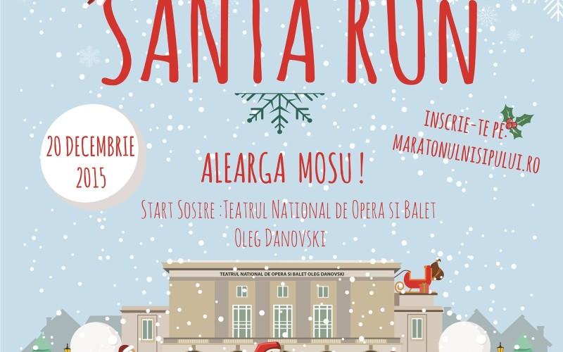 Zeci de oameni aleargă costumaţi în Moş Crăciun la malul Mării Negre