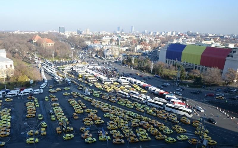 Capitala României, blocată de protestul a 4000 de transportatori rutieri