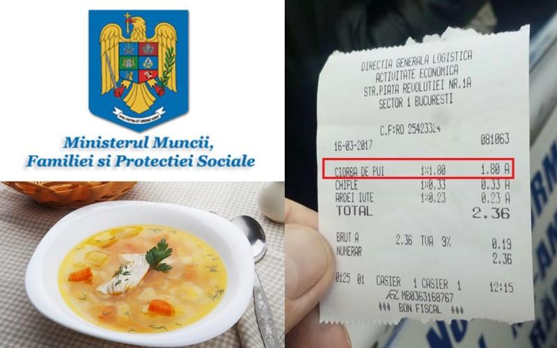 Să tot mănânci la stat | La Ministerul Muncii, ciorba de pui costă doar 1.8 lei