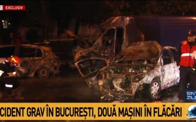 Grav accident rutier în Bucureşti. Trei maşini au luat foc. O persoană a decedat!