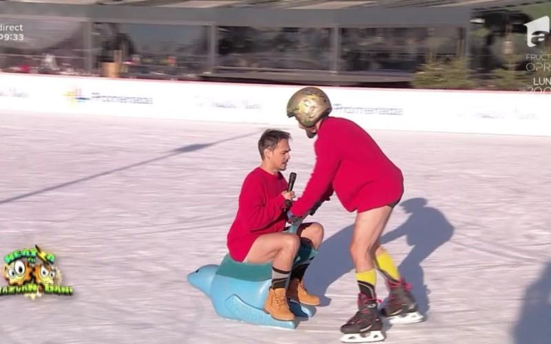 Răzvan și Dani au renunțat la pantaloni, în direct, la -3 grade Celsius