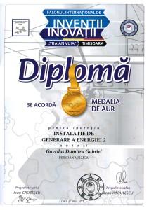 Diploma pentru medalia de aur 1