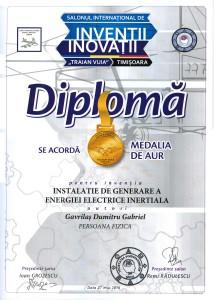 Diploma pentru medalia de aur