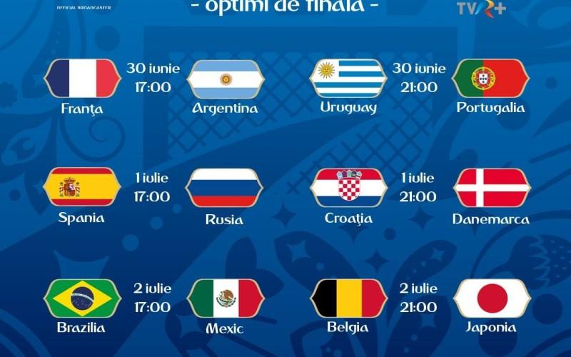 Mondialul de fotbal din Rusia continuă cu faza optimilor, în direct la TVR