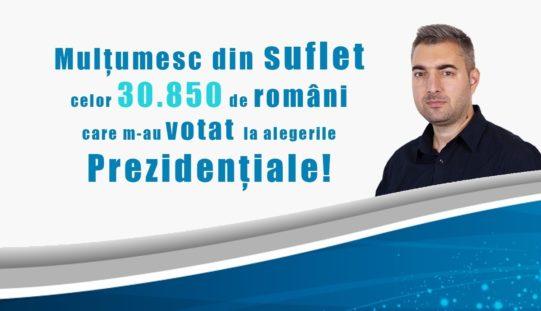 Sebastian Popescu, performanţă fantastică reuşită la Prezidenţiale. A obţinut 30.850 de voturi cu ZERO lei