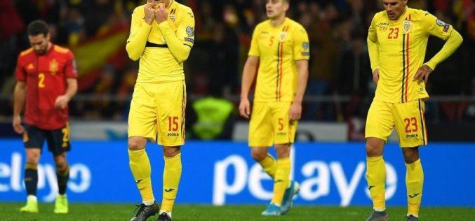 România încheie în geneunchi preliminariile Euro 2020. Spania ne-a dat 5 goluri